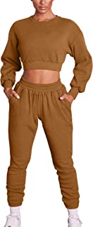 Mizoci Women's 2 Piece Outfits Workout Tracksuit Long Sleeve Crop Top Jogger Pants Set