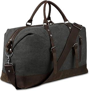 BLUBOON Reisetasche aus Segeltuch für Damen und Herren, Reisetasche, echtes Leder, dunkelgrau Grau - BLUBOON
