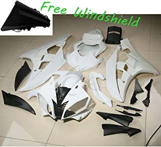 XFMT ABS Fairing Cowl Kit Bodywork Compatible with YAMAHA YZF R6 YZF-R6 2006 2007 Unpainted White