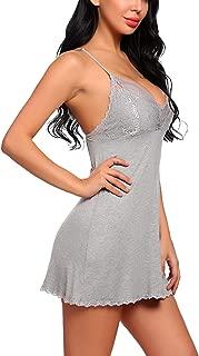 ADOME Women's Modal Sleepwear Full Slips Strap Nightgown V Neck Chemise Lace Lingerie