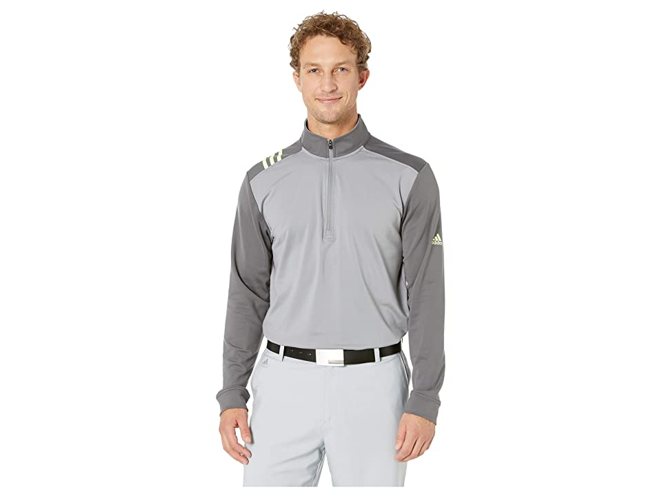 Image of adidas Golf 3-Stripes 1/4 Zip (Grey Three/Grey Five) Men's Clothing