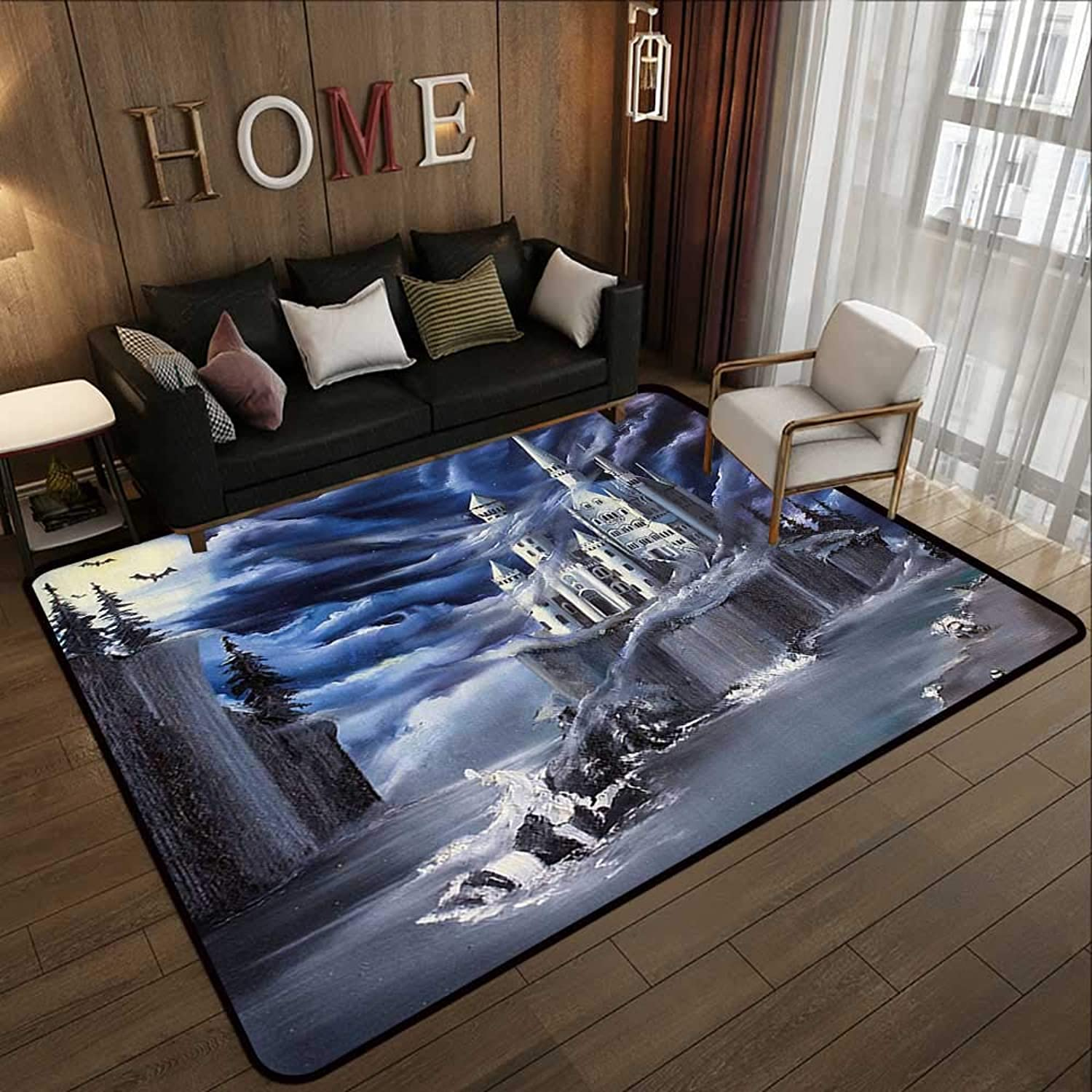 Carpet mat,Fantasy,Island with Ancient Castle Full Moon Cloudy Dramatic Sky Foggy Weather,Dark bluee Grey White 59 x 71  Floor Mat Entrance Doormat