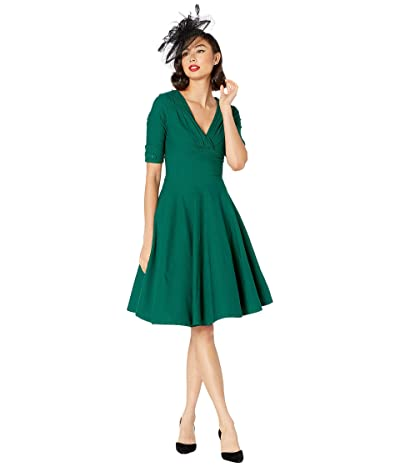 Unique Vintage 1950s Delores Swing Dress with Sleeves (Emerald Green) Women