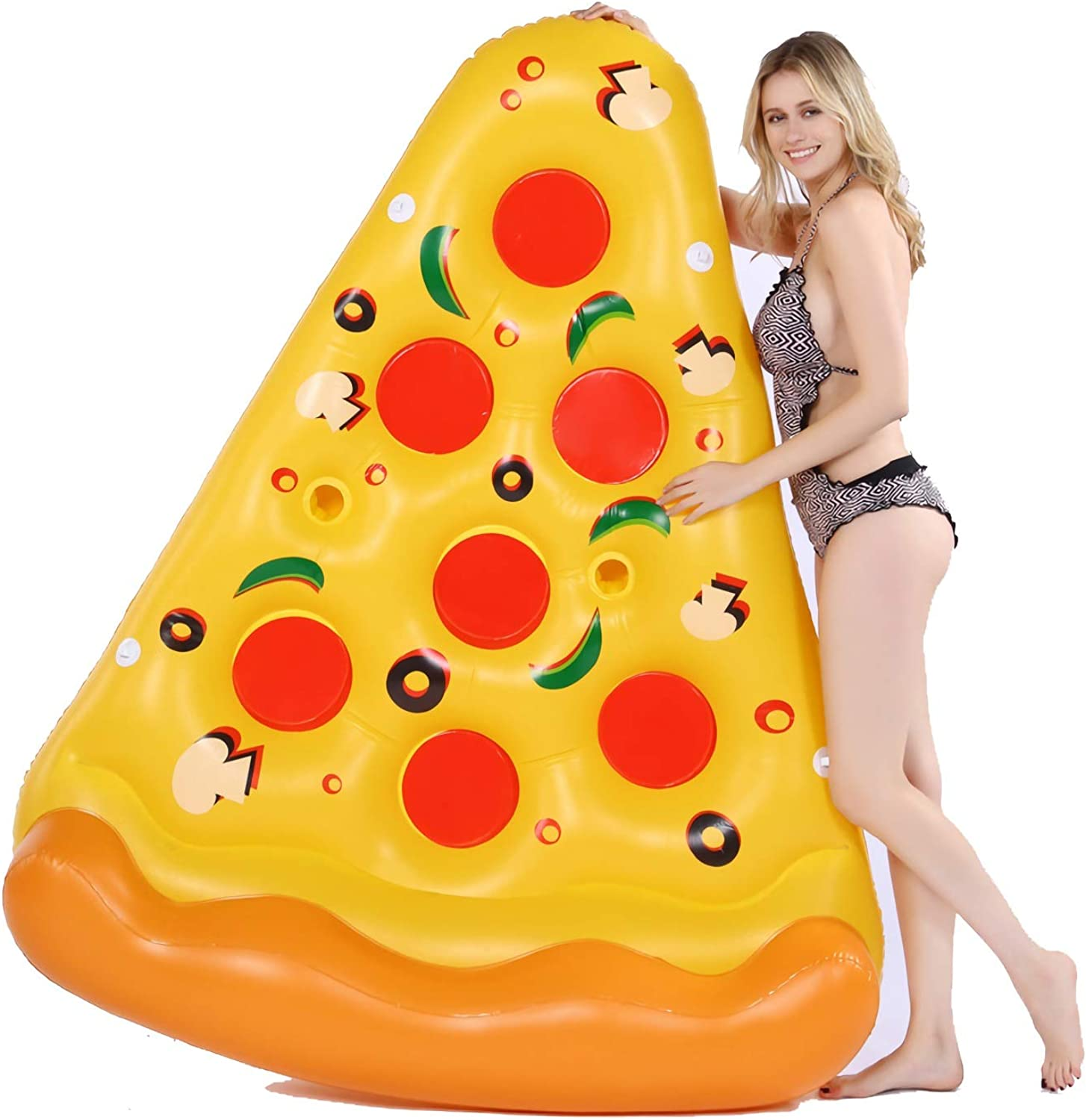 Aufblasbare Pizza Slice Novelty Pool Pool Float Float Raft, Pool Floaties, Fun Kids für Erwachsene Swim Party Toy