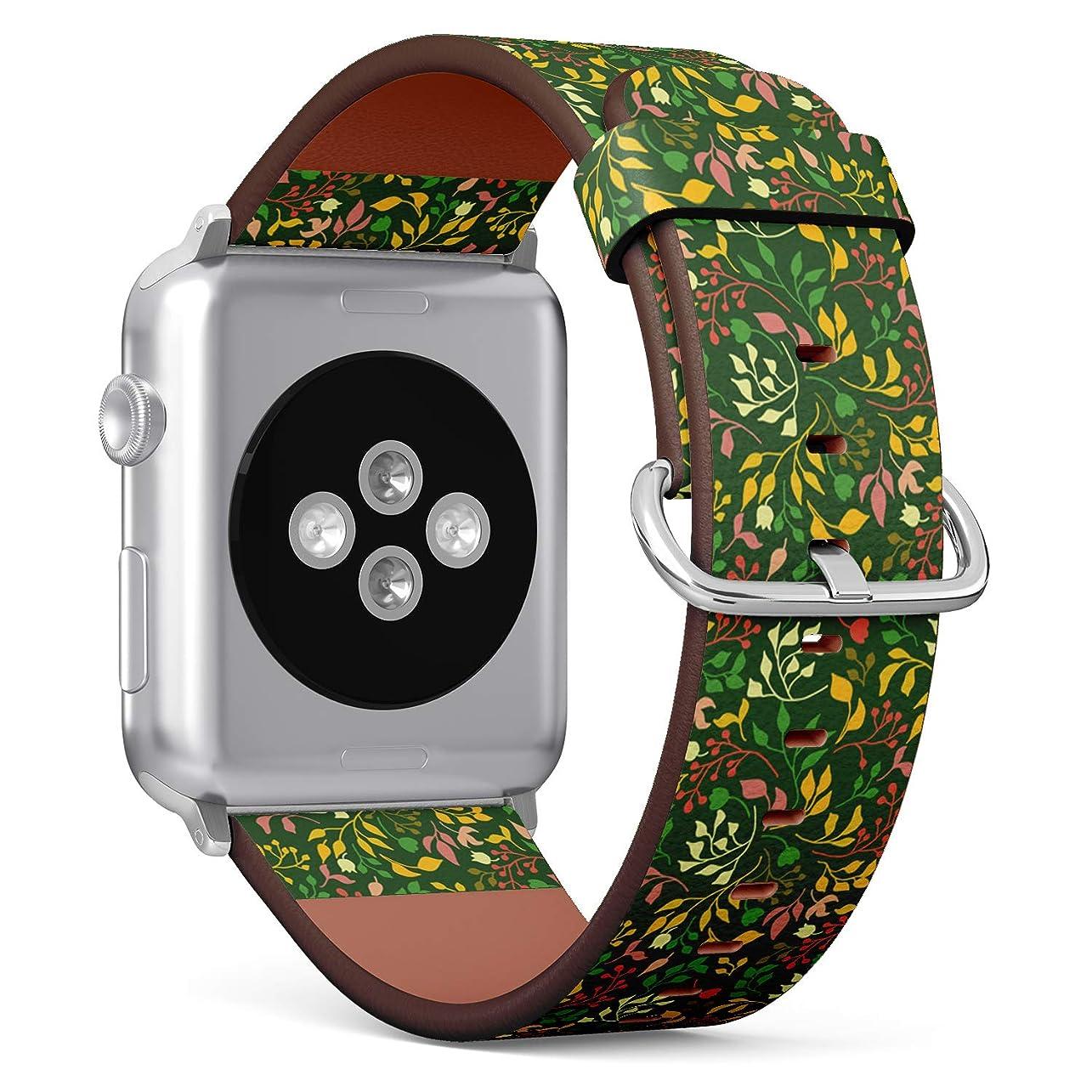 オペラ友情臨検コンパチブル Apple Watch iWatch 42mm & 44mm - 本革レザーストラップ, 向けのバンド交換ストラップです コンパチブル アップルウォッチ バンド (春の花)