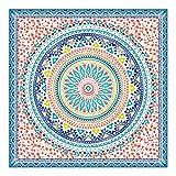 Orian Toalla Pareo Doble de Playa Microfibra, Mandala Grande Azúl, 150 x 150 cm,...