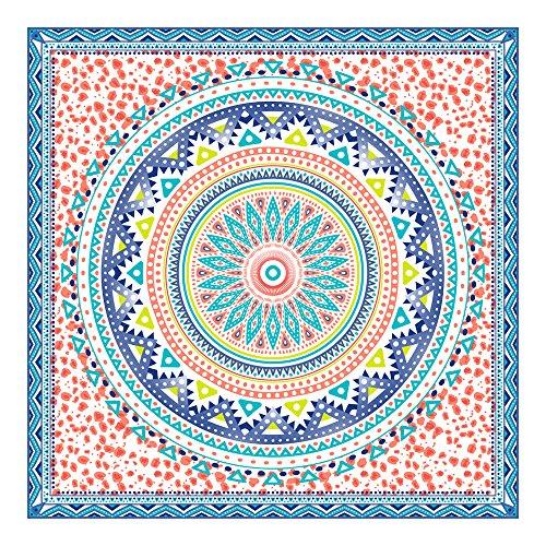 Orian Toalla Pareo Doble de Playa Microfibra, Mandala Grande Azúl, 150 x 150 cm, Multicolor