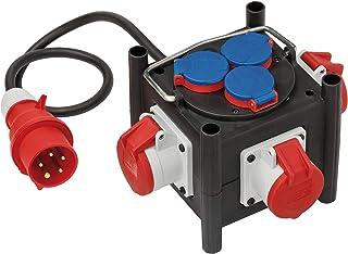 Brennenstuhl Kompakter Gummi-Stromverteiler 1 m Kabel, 3x CEE 400V/16A, 3x 230V/16A, Baustelleneinsatz und ständigen Einsatz im Freien schwarz
