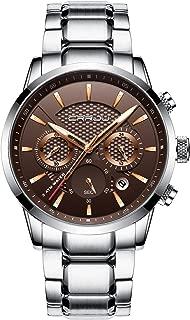 CRRJU Brand Men's Business Casual Chronograph Quartz Waterproof Wristwatch Black Stainless Steel Strap