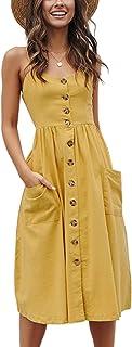 Angashion Women`s Dresses-Summer Floral Bohemian Spaghetti Strap Button Down Swing Midi Dress with Pockets