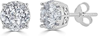 1/2Ct Diamond Stud Earrings Set in Sterling Silver