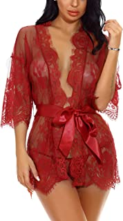 Sykooria Sexy Dessous Damen Reizwäsche Nachthemd Kurz Damen Unterwäsche Sexy Set Negligee V-Ausschnitt Transluzente Spitze Kimono Sleepwear Kleid, mit Gürtel und Tanga Valentinstag