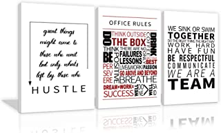 Inspirational Office Wall Decor Office Rules Prints Motivational Quote Posters for Office Decorations 3 Pieces Positive Affirmation Teamwork Quotes Pictures for Office Living Room Framed Ready to Hang