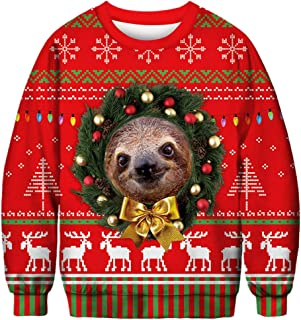 Morbuy Unisex Christmas Animal Pullover Sweatshirts, 3D Print Novelty Xmas Funny Jumpers Long Sleeve