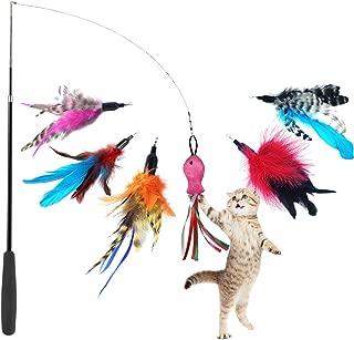CATOM 猫のおもちゃ 猫じゃらし 羽のリフィル交換用パック 伸縮できる じゃれ猫 釣り竿 (6羽+1竿)