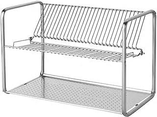 comprar comparacion Escurreplatos de acero inoxidable 50 x 27 x 36 cm, tamaño montado: 50 cm de largo, 27 cm de ancho, 36 cm de alto, con capa...