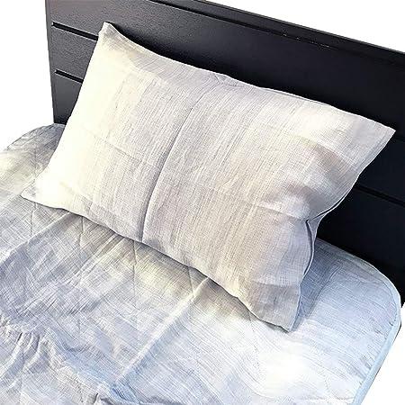 BIWAKO BLUE 近江ちぢみ麻ピローケース ピロケース 枕カバー 43×63cm 単品 まくらカバー チャック式枕カバー 麻100% 本麻ウォッシャブル a sarari NKP0029T