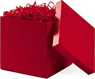 Hallmark 5EBC1817 Collapsible Shred (Red) Large Gift Box with Lid for Birthdays, Bridal, Weddings, Baby Showers, Scarlet
