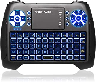 ANEWKODI Mini Keyboard with Touchpad Mouse and Multimedia Keys, USB Backlit Wireless 2.4Ghz Android Remote Control Keyboard Best for Smart TV, PC, Android TV Box, PS4, IPTV, Xbox, Support Windows 10