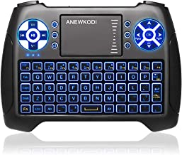 ANEWKODI Mini Keyboard with Touchpad Mouse and Multimedia Keys, USB Backlit Wireless Keyboard 2.4Ghz Remote Control Best for Smart TV, PC, Android TV Box, PS4, IPTV, Xbox, Support Windows 10
