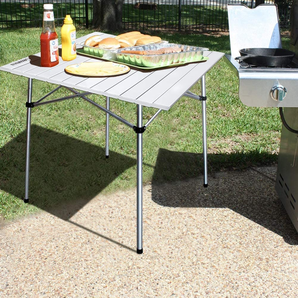 Growsun Folding Camping Table Portable Aluminum Lightweight Square Table w//Carry Bag for Outdoor and Indoor White Chain