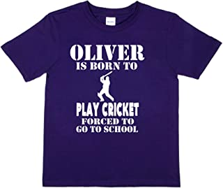 Print4u Custom Oliver Born to Play Cricket T-Shirt