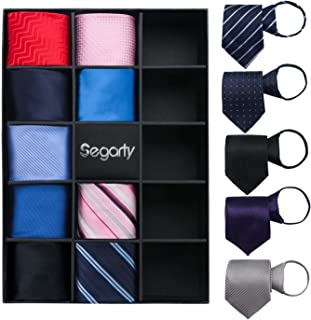 Mens Ties, Segarty Lot 14 PCS Zip Necktie Classic Skinny Neck Tie Set for Men