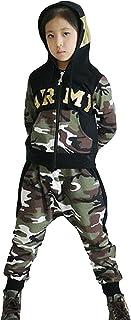 (ラボーグ)La Vogue 子供 ダンス衣装 ヒップホップ スウェット 上下セット ロングパンツ 男の子 女の子 パーカー フード付き 迷彩柄 長袖 スポーツ