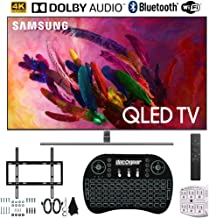 """$1679 » Samsung QN65Q7FNA 65"""" Q7 QLED Smart 4K UHD TV (2018 Model) + Flat Wall Mount Kit Ultimate Bundle + Wireless Keyboard Smart Remote w/Touchpad + SurgePro 6-Outlet Surge Adapter w/Night Light"""