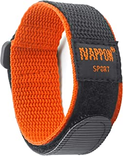 IVAPPON Hook Loop Sport Watch Strap 18mm 20mm Nylon Straps Black Blue Fastening Watchband