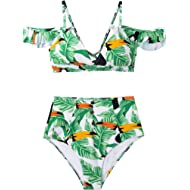 Seaselfie Women's Leaves Parrots Print Off-Shoulder Tank High Waisted Bikini Set V Neck Ruffled...