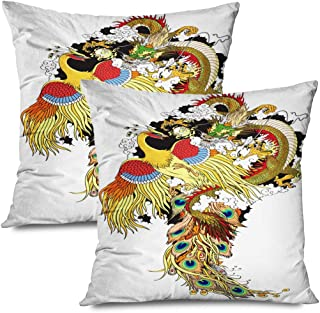 Onete Set of 2 Throw Pillow Covers Square 20x20 Esoteric Jade Pearl Fictional Dragon Playing Huang Phoenix Mythological Legendary Feng Ball Shui Decorative Cushion Pillow Case Home Decor Pillowcase