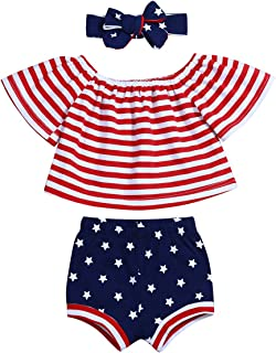 4th of July Baby Girl Clothes Off Shoulder Sleeve Tops+American Flag Stars Shorts Pant Independence Day 3Pcs Outfits