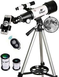 تلسکوپ Gskyer، Travel Scope، 70mm Aperture 400mm AZ Mount Astronomical Refractor Telescope for Children مبتدیان - تلسکوپ مسافرتی قابل حمل با کیف حمل ، آداپتور گوشی هوشمند و از راه دور بی سیم