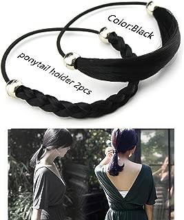 MERRYLIGHT Synthetic Girls Hair Accessories Twirl Ups Hair Piece Braided Hair Headbands 2pcs (Black-1)