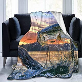 Adult Child Soft Cozy Blankets, Fish Diving Good Luck Super Warm Throw Wrap Cover King Size Throw Wearable Cuddle, Home Blanket