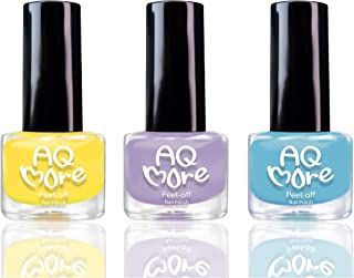 AQMORE Non Toxic Water Based Peel Off Nail Polish – Lasts for Days, GEL Like Shine, Dries in Minutes, Fragrance & Paraben Free, Kid Safe, Great Gift Idea - 3 Colors (0.20 fl oz/Bottle) (Hello Spring)