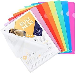 Dossiers en plastique transparent A4, 25pcs Chemise Plastique Pochette Pour le stockage du papier, 8 couleurs assorties, p...
