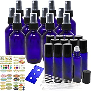 Jalousie 24 Pack Cobalt Blue Refillable Glass Containers include 12 Cobalt Blue Glass Spray Bottles 2oz 60 ml & 12 Cobalt Blue Eye Roller Bottles 0.34oz 10 ml Bonus Stickers Dropper and Bottle Opener