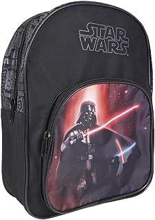 Mochila Niño Star Wars - Bolso Escolar con Bolsillo Frontal Estampado Darth Vader - Bolsa Cartera para Escuela Guarderia Viaje con Tirantes Acolchados - Negro - 30x22x8 cm
