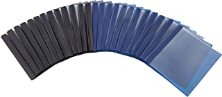 Amazon Basics Letter Size Clear Front Poly Report Cover with Metal Prong - 25-Pack, Assorted Black and Navy