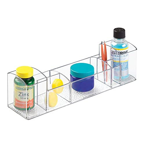 "iDesign Med+ 12"" Plastic Divided Vanity Medication and Bathroom Accessory, 12"" x 3"" x 3"", Multi-Level Organizer"