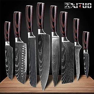 Mrjg Cuisine Couteaux de Cuisine Set 8 Pouces Japonais 7CR17 440C Haute teneur en Carbone en Acier Inoxydable Damas Laser ...