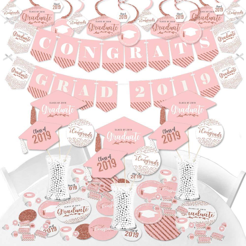 Big Dot of Happiness Rose Gold Grad - 2021 Graduation Party Supplies - Banner Decoration Kit - Fundle Bundle