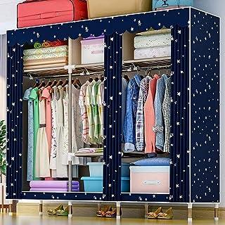 HWG Armoires en Toile Armoire en Tissu Placard Pliable avec 3 Tringles à Vêtements, 7 étagères pour La Chambre à Coucher, ...