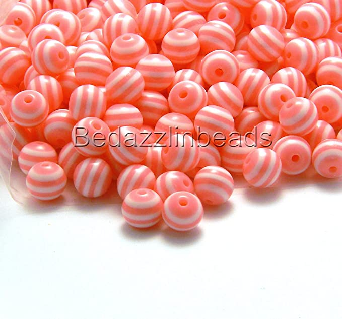 35 Blue and white stripe Acrylic round Beads-Jewelry Supplies
