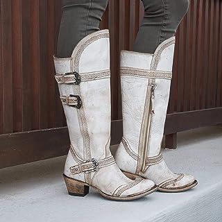 Dames cowboylaarzen PU western schoenen lage hak spitse vierkante hak riem gesp ronde neus ridderlaarzen dikke halfhoge la...