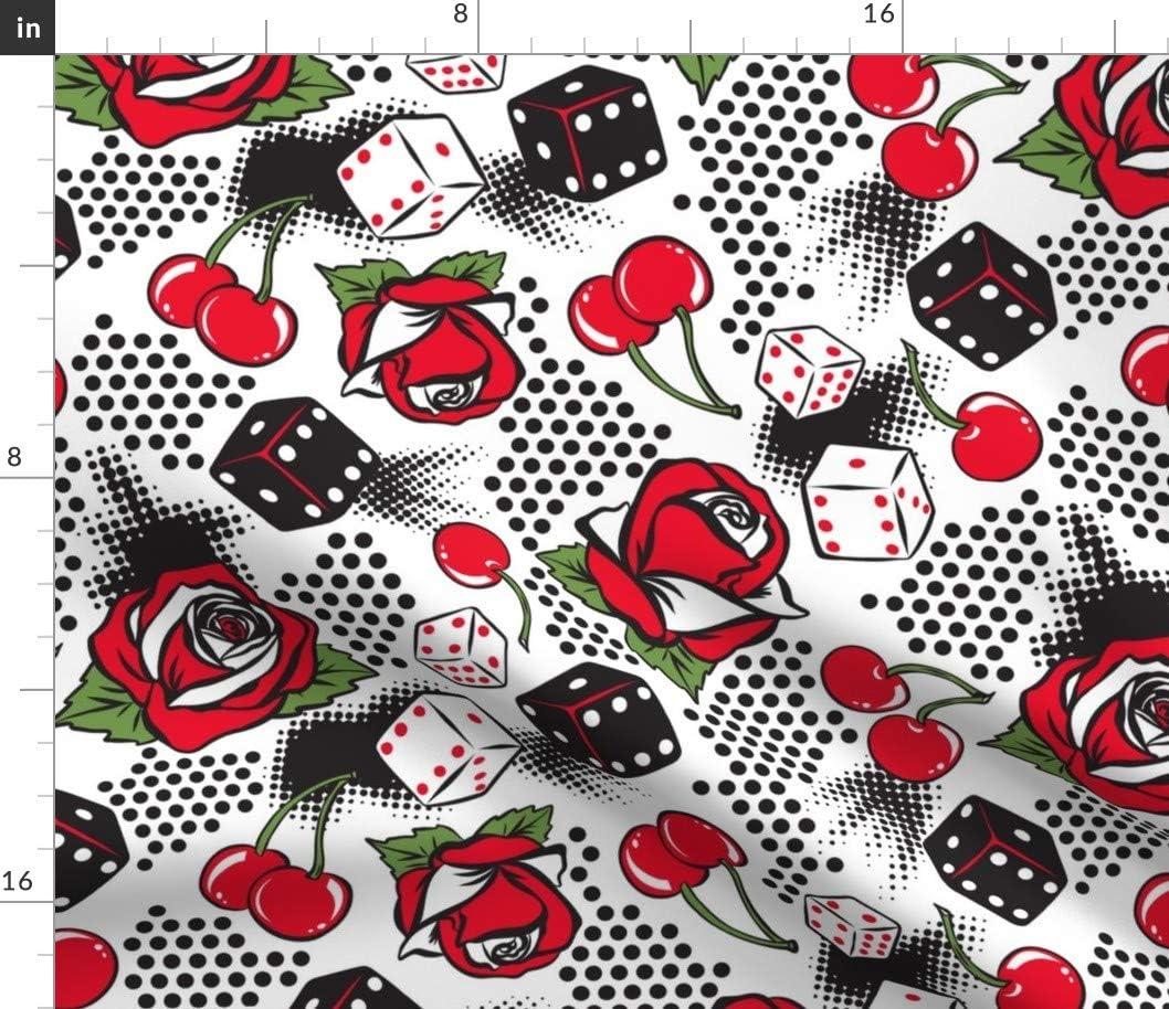 Spoonflower Fabric - Luck White Special sale Sale item Vintage Retro Rockabilly Rose Fl