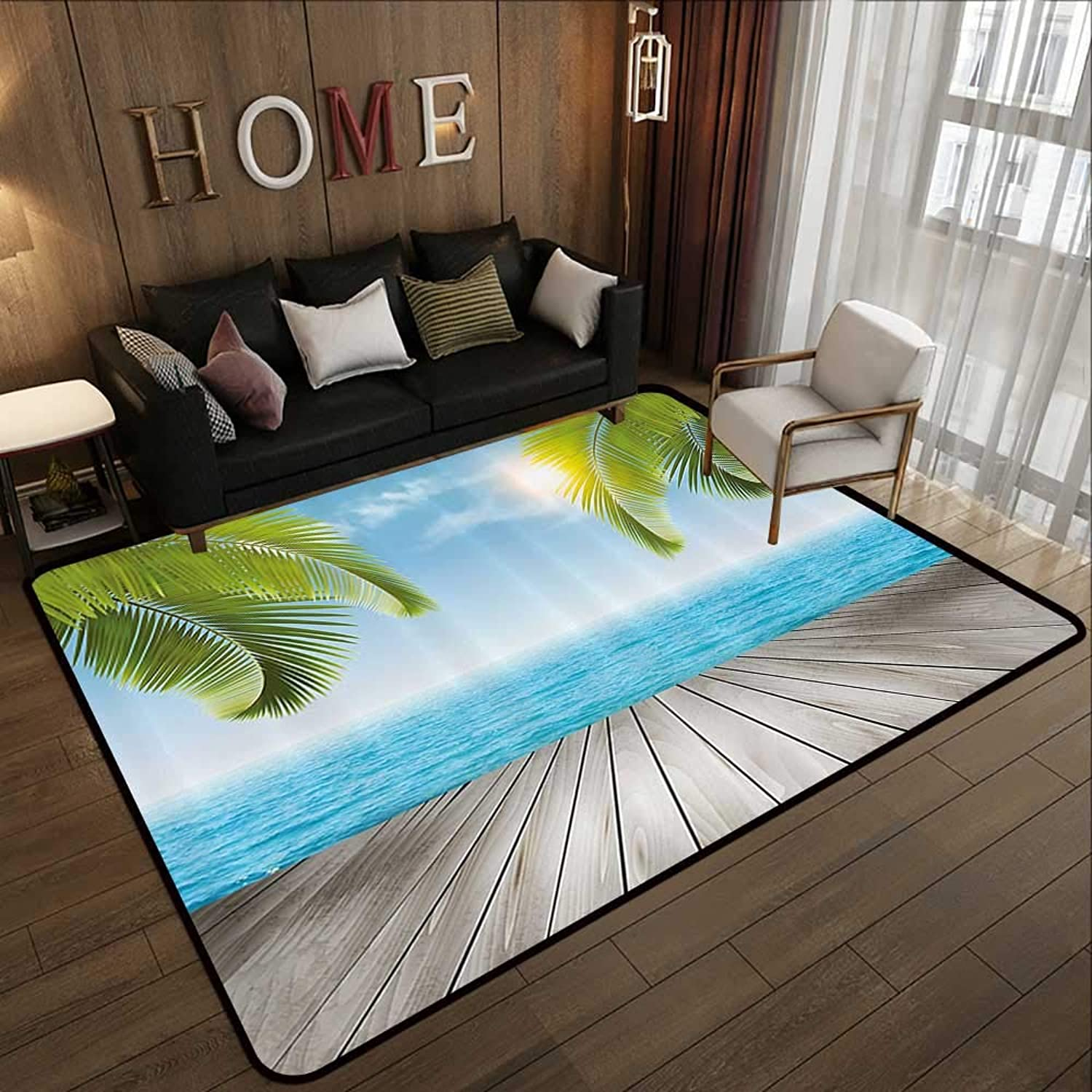 Floor mat,Beach,Tropical Exotic Seashore with Palm Trees Sunny Day Summertime Vacation Theme,Aqua Green Grey 47 x 59  Indoor Outdoor Rubber Mat