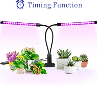 Grow Light, Ankace Upgraded Version 40W Dual Head Timing 36 LED 5 Dimmable Levels Plant Grow Lights for Indoor Plants with Red Blue Spectrum, Adjustable Gooseneck, 3 6 12H Timer, 3 Switch Modes